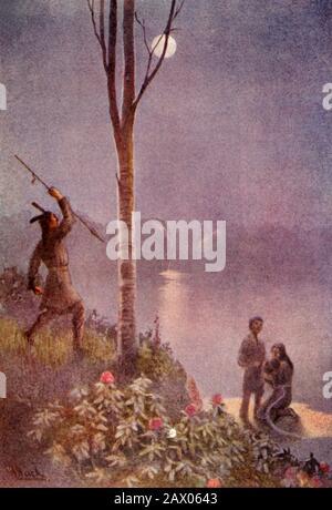 """""""Er balancierte seinen Speer und schlug auf den Gürtel"""", 1914. Ein Jäger bricht den Bann des Wassers, das Manitou seiner Frau von seiner Mutter verflucht hat, um sie von ihrem eigenen Kind zu trennen. Von """"The Myths of the North American Indians"""", von Lewis Spence F.R.A.I. [George G. Harrap & Co. Ltd, London, Kalkutta, Sydney, 1914] - Stockfoto"""