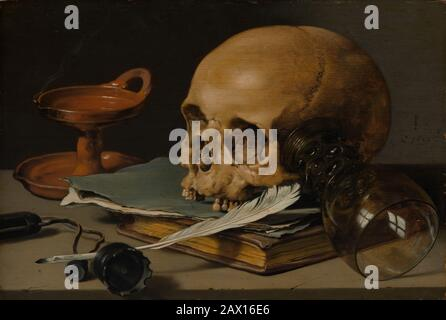 Still Life with a Skull and a Writing Quill, 1628. - Stockfoto