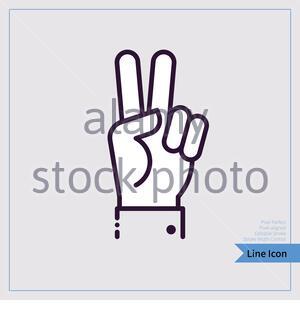 """Symbole für das Symbol """"Siegesgeste"""". Professioneller Pixel-ausgerichtet, Pixel Perfekt, bearbeitbarer Strich, Einfache Skalierbarkeit. - Stockfoto"""