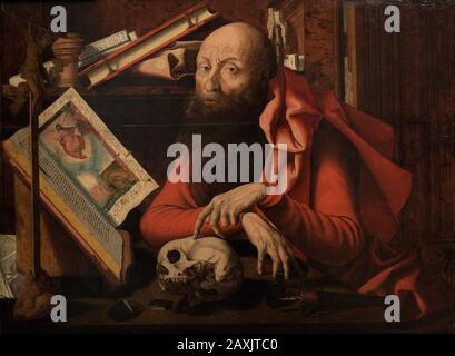 Sankt Jerome. Kopie von Marinus van Reymerswaele (1490 - 1495 - 1567). Öl auf der Platte. Museum der Schönen Künste A Coruña, Galicien, Spanien. (Leihgabe, Prado Museum, Madrid). - Stockfoto