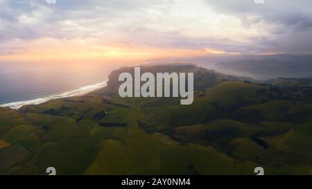 Luftaufnahme der Halbinsel Otago, Dunedin, South Island, Neuseeland