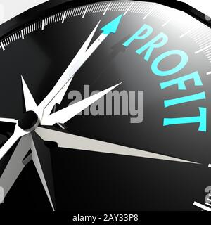 Gewinnwort auf dem Kompass - Stockfoto