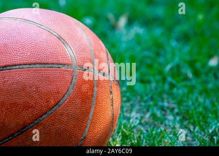 Basketballball im Garten über Gras Nahaufnahme - Stockfoto