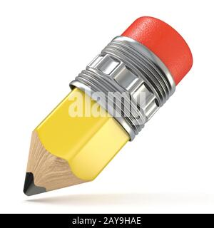 Gelbe Bleistift. Cartoon Stil. 3D - Stockfoto
