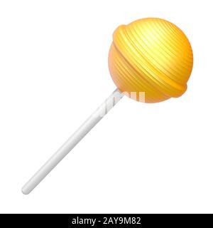 Gelbe Lutscher 3D Rendering Illustration auf weißem Hintergrund - Stockfoto