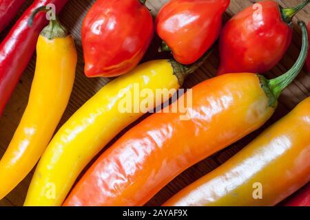 Haufen von verschiedenen chili peppers auf einer hölzernen Hintergrund. Zutaten zum Kochen, spicey Geschmack und Bio-lebensmittel Konzept. - Stockfoto