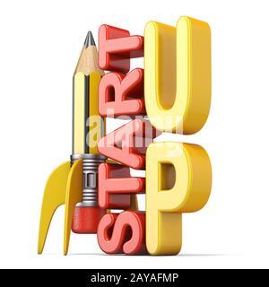 Bleistift in der Form der Rakete mit Text START UP3D - Stockfoto
