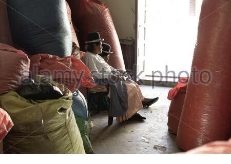 14. Oktober 2012 - Sud Yungas, Bolivien: Zwei Indigenous Women Surraunded Mit Großem Sack Voller Coca-Blätter Auf Der Coca Leaf Dep - Stockfoto