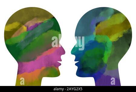 Zwei waterfarbene menschliche Köpfe, die einander gegenüberstehen, isoliert auf weiß. - Stockfoto