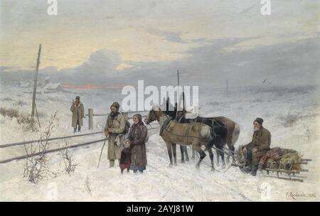 Franz Roubaud Warten auf den Zug 1882. - Stockfoto
