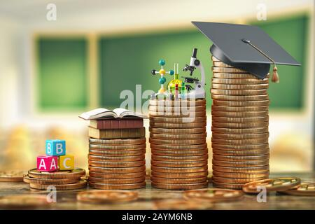 Die Bildungskosten hängen vom Schulniveau und der Hochschule ab. Förderung, Bildungskredit, Investition in Wissenskonzept, Graduierung Cap on Coins. 3 - Stockfoto