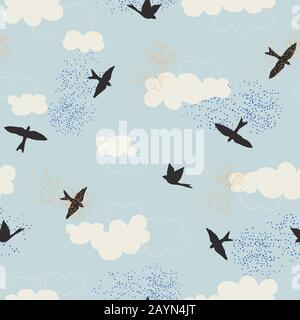 Schwarze Vogelsilhouette und weiße Wolken mit blauem Himmel. Nahtloses Wiederholungsmuster für Hintergrundbilder, Hintergrund und Textildesign. Vektorgrafiken. - Stockfoto