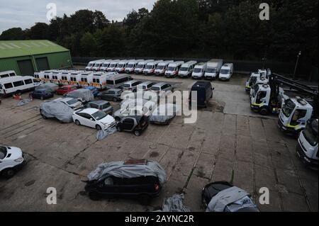 Metropolitan Police Vehicle Pound, Charlton, London - Stockfoto