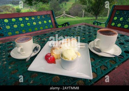 Zwei Tassen Kaffee mit Zitronenkuchen mit Erdbeer und einer Schaufel Vanilleeis im Freien. Café im Freien im Freien, Restaurant - Stockfoto