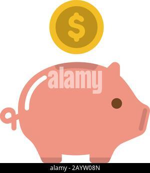 Piggy Bank, Sparen von Geld, Investitionen, Bargeldvektor-Symbol-Abbildung ( US-Dollar ) - Stockfoto