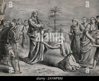 Neues Testamente. Jesus säubert einen Leper. Matthäus-Evangelium. Gravur, 19. Jahrhundert. - Stockfoto