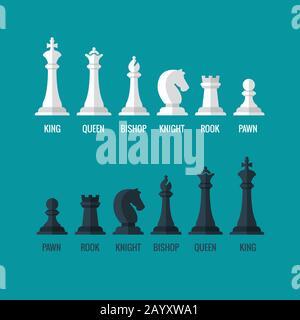 Schachfiguren König Königin Bischof Ritter Rook Pfand flache Vektor-Ikonen gesetzt. Schachfiguren schwarz-weiß. Mannschaft mit Schachfiguren Illustration - Stockfoto
