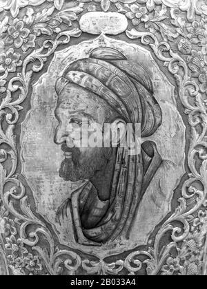 """Abu ʿAlī al-Husayn IBN ʿAbd Allah Sīna (c 980, Afshana bei Buchara - 1037, Hamadan, Iran), allgemein bekannt als Ibn Sīna oder unter seinem latinisierten Namen Avicenna, war ein persischer Universalgelehrter, der fast 450 Abhandlungen über eine breite Palette von Themen verfasste, von denen etwa 240 überlebt haben. 150 seiner überlieferten Abhandlungen konzentrieren sich insbesondere auf die Philosophie, 40 von ihnen konzentrieren sich auf die Medizin. Seine bekanntesten Werke sind Das """"Book of Healing"""", eine riesige philosophische und wissenschaftliche Enzyklopädie, und Der """"Canon of Medicine"""", der an vielen mittelalterlichen Universitäten ein medizinischer Standardtext war. Der Canon der Medici - Stockfoto"""