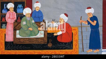 """Abu Alī al-Husayn IBN Abd Allah IBN Sina (c 980, Afshana bei Buchara- 1037, Hamadan, Iran), allgemein bekannt als Ibn Sina oder unter seinem latinisierten Namen Avicenna, war ein persischer Universalgelehrter, der fast 450 Abhandlungen über eine breite Palette von Themen verfasste, von denen etwa 240 überlebt haben. 150 seiner überlieferten Abhandlungen konzentrieren sich insbesondere auf die Philosophie, 40 von ihnen konzentrieren sich auf die Medizin. Seine bekanntesten Werke sind """"Das Buch der Heilung"""", eine riesige philosophische und wissenschaftliche Enzyklopädie, und """"Der Canon der Medizin"""", der an vielen mittelalterlichen Universitäten ein medizinischer Standardtext war. """"Der Canon von Medic - Stockfoto"""