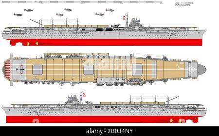 Der Flugzeugträger der Kaiserlich japanischen Marine Shokaku wurde zwischen 1937 und 1939 konstruiert und diente zwischen den Jahren von 1927 bis 1944. Die Shokaku beteiligte sich im Dezember 1941 am Angriff auf Pearl Harbor und wurde 1944 bei der Schlacht an der philippinischen See versenkt. - Stockfoto