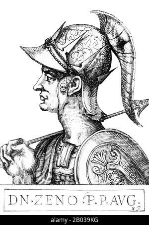 Zeno der Isaurier (425-491), ursprünglich Tarasis Kodisa Rousombladadiotes genannt, war ein isaurischer Offizier, der in der oströmischen Armee diente. Er wurde ein Verbündeter von Kaiser Leo, heiratete seine Tochter Ariadne und half ihm, den Alan General Aspar, der großen Einfluss in Constantine hatte, zu ermorden. Er nahm den Namen Zeno an, offenbar von einem anderen berühmten isaurischen Offizier, der gegen Attila gekämpft hatte, um sich für die römische Hierarchie akzeptabler zu machen. Als Leo 474 starb, wurde Zenos Sohn Leo II. Kaiser, aber da er damals nur sieben war, war er überzeugt, seinen Vater als Mitkaiser zu benennen. Ze - Stockfoto