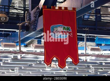 Podolsk, RUSSLAND - 25. JANUAR 2020: Wimpel des Ak Bars Teams beim Eishockeyspiel Vityaz vs. Lokomotiv bei der russischen KHL-Meisterschaft in Podolsk, Russland. Lokomotiv gewann 5:2 - Stockfoto