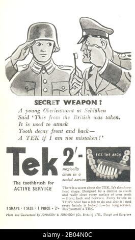 """Weltkrieg Zwei Werbung für die Zahnbürste """"tek"""" mit Dr. Goebbels und dem jungen deutschen Leutnant 1941 - Stockfoto"""