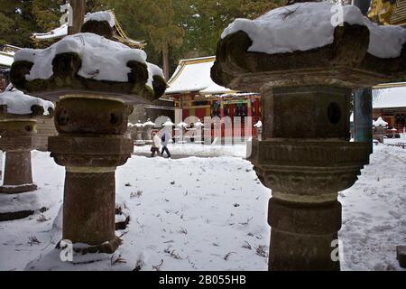 Stein, Laterne, Laterne, in Toshogu Shinto Schrein, Nikko, Japan - Stockfoto