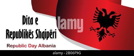 Tag der Republik Albanien. Markierung auf weißem Hintergrund. Unabhängigkeit Albaniens. Poster, Werbebanner. Beschriftung der Übersetzung in der albanischen Republik D - Stockfoto