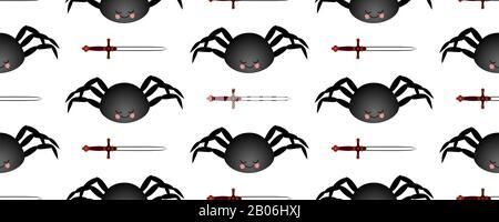 Schwarzes Spinnenmuster. MCH auf dunklem Hintergrund. Nahtloses Muster für Textil- und Gewebedesign. - Stockfoto
