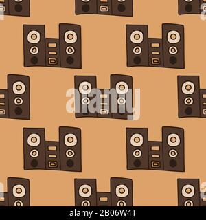 Lautsprecher mit Subwoofer. Musiksystem. Vektor-Darstellung mit nahtlosem Muster - Stockfoto