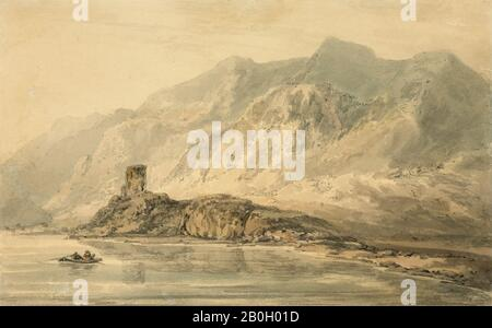 "Thomas Girtin, Englisch, 1775-1802, Joseph Mallord William Turner, (Englisch, 1775-1851), Dolbadarn Castle, c ""Watercolor over Graphit on creme wove paper"", Blatt: 5 7/8 x 9 3/8 in. (14,9 x 23,8 cm - Stockfoto"