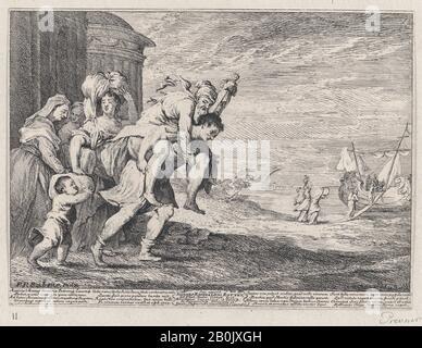 Anton Joseph von Prenner, Aeneas auf der Flucht vor Troja, mit einer Gruppe von sechs Figuren, die die Stadt links verlassen, Aeneas, der seinen Vater Anchises auf dem Rücken trägt, gefolgt von seiner Frau Creusa und seinem Sohn Ascanius, zwei Dienstboten ganz links, Anton Joseph von Prenner (Österreicher, Wallerstein 1683-1761 Wien), Möglicherweise nach Peter Paul Rubens (Flämisch, Siegen 1577-1640 Antwerpen), 1728, Radierung, Blatt (Getrimmt): 6 7/16 × 8 11/16 Zoll. (16,4 × 22 cm), Ausdrucke - Stockfoto