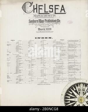 Bild 1 von Sanborn Fire Insurance Map aus Chelsea, Suffolk County, Massachusetts. März 1889. 25 Blatt(e), Amerika, Straßenkarte mit einem Kompass Aus Dem 19. Jahrhundert
