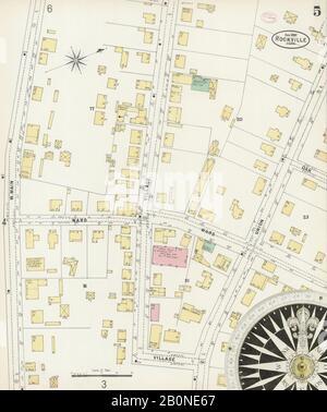 Bild 5 von Sanborn Fire Insurance Map aus Rockville, Tolland County, Connecticut. August 1897. 8 Blatt(e), Amerika, Straßenkarte mit einem Kompass Aus Dem 19. Jahrhundert - Stockfoto