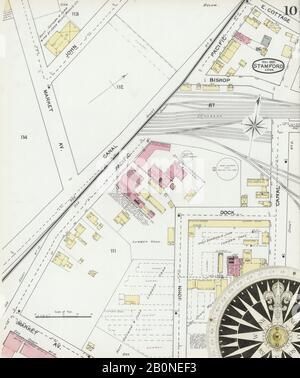 Bild 10 von Sanborn Fire Insurance Map aus Stamford, Fairfield County, Connecticut. Mai 1892. 17 Blatt(e), Amerika, Straßenkarte mit einem Kompass Aus Dem 19. Jahrhundert
