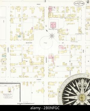 Bild 2 von Sanborn Fire Insurance Map aus Georgetown, Sussex County, Delaware. Juli 1897. 3 Blatt(e), Amerika, Straßenkarte mit einem Kompass Aus Dem 19. Jahrhundert - Stockfoto