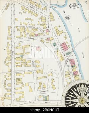 Bild 4 von Sanborn Fire Insurance Map aus Augusta, Kennebec County, Maine. Okt. 13 Blatt(e), Amerika, Straßenkarte mit einem Kompass Aus Dem 19. Jahrhundert
