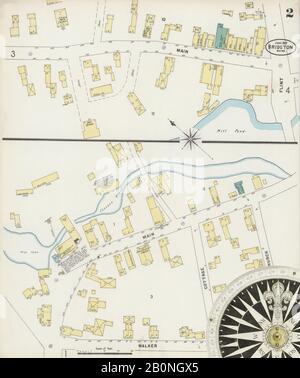 Bild 2 von Sanborn Fire Insurance Map aus Bridgton, Cumberland County, Maine. Juni 1897. 4 Blatt(e), Amerika, Straßenkarte mit einem Kompass Aus Dem 19. Jahrhundert - Stockfoto