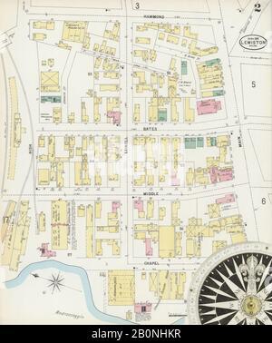Bild 2 von Sanborn Fire Insurance Map aus Lewiston, Androscoggin County, Maine. Apr. 1897. 17 Blatt(e), Amerika, Straßenkarte mit einem Kompass Aus Dem 19. Jahrhundert