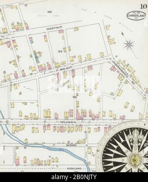 Bild 10 von Sanborn Fire Insurance Map aus Cumberland, Allegany County, Maryland. Apr. 19 Blatt(e), Amerika, Straßenkarte mit einem Kompass Aus Dem 19. Jahrhundert - Stockfoto