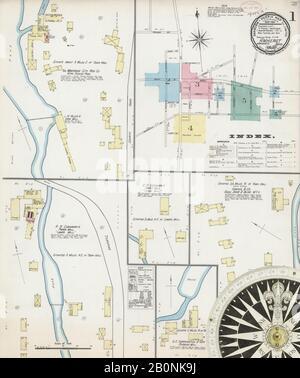 Bild 1 von Sanborn Fire Insurance Map aus Amherst, Hampshire County, Massachusetts. Juni 1892. 5 Blatt(e), Amerika, Straßenkarte mit einem Kompass Aus Dem 19. Jahrhundert - Stockfoto