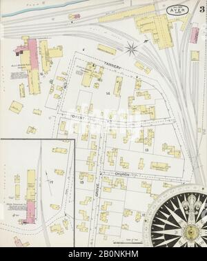 Bild 3 von Sanborn Fire Insurance Map aus Ayer, Middlesex County, Massachusetts. Juli 1892. 3 Blatt(e), Amerika, Straßenkarte mit einem Kompass Aus Dem 19. Jahrhundert - Stockfoto