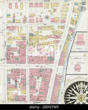 Bild 21 von Sanborn Fire Insurance Map aus Elmira, Chemung County, New York. Jan 1898. 35 Blatt(e), Amerika, Straßenkarte mit einem Kompass Aus Dem 19. Jahrhundert - Stockfoto