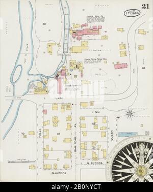 Bild 21 von Sanborn Fire Insurance Map aus Ithaca, Tompkins County, New York. Dez 1893. 26 Blatt(e), Amerika, Straßenkarte mit einem Kompass Aus Dem 19. Jahrhundert - Stockfoto