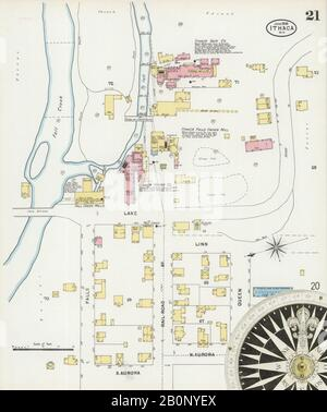 Bild 21 von Sanborn Fire Insurance Map aus Ithaca, Tompkins County, New York. Juni 1898. 31 Blatt(e), Amerika, Straßenkarte mit einem Kompass Aus Dem 19. Jahrhundert - Stockfoto