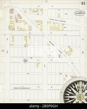 Bild 21 von Sanborn Fire Insurance Map aus Lansingburg, Rensselaer County, New York. Juli 1897. 23 Blatt(e), Amerika, Straßenkarte mit einem Kompass Aus Dem 19. Jahrhundert - Stockfoto