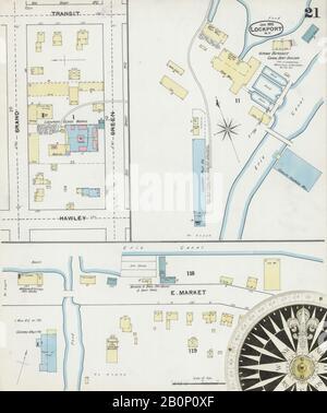 Bild 21 von Sanborn Fire Insurance Map aus Lockport, Niagara County, New York. Januar 1892. 21 Blatt(e), Amerika, Straßenkarte mit einem Kompass Aus Dem 19. Jahrhundert - Stockfoto