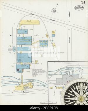 Bild 21 von Sanborn Fire Insurance Map aus Lockport, Niagara County, New York. Jan 1898. 23 Blatt(e), Amerika, Straßenkarte mit einem Kompass Aus Dem 19. Jahrhundert - Stockfoto