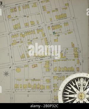 Bild 4 von Sanborn Fire Insurance Map aus Altoona, Blair County, Pennsylvania. 1894. 43 Blatt(e). Bound, Amerika, Straßenkarte mit einem Kompass Aus Dem 19. Jahrhundert - Stockfoto